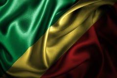 Флаг сатинировки Республики Конго Silk Стоковые Фото