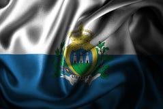 Флаг сатинировки Сан-Марино Silk Стоковое фото RF