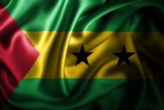 Флаг сатинировки Сан Томе и Принчипе Silk Стоковое Изображение RF