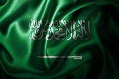 Флаг сатинировки Саудовской Аравии Silk Стоковая Фотография