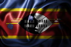 Флаг сатинировки Свазиленда Silk Стоковое фото RF