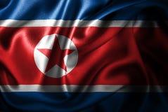 Флаг сатинировки Северной Кореи Silk Стоковые Изображения