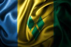Флаг сатинировки Сент-Винсент и Гренадины Silk Стоковые Фотографии RF