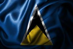 Флаг сатинировки Сент-Люсия Silk Стоковые Фото