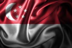 Флаг сатинировки Сингапура Silk Стоковая Фотография RF
