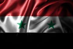 Флаг сатинировки Сирии Silk Стоковые Фото