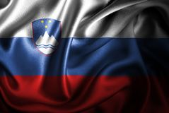 Флаг сатинировки Словении Silk Стоковое Изображение