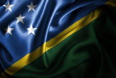 Флаг сатинировки Соломоновых Островов Silk Стоковые Фотографии RF