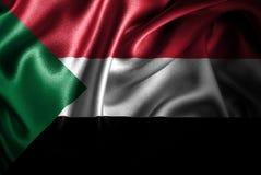 Флаг сатинировки Судана Silk Стоковое фото RF