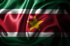 Флаг сатинировки Суринама Silk Стоковое Изображение