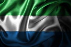Флаг сатинировки Сьерра-Леоне Silk Стоковое Фото