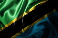 Флаг сатинировки Танзании Silk Стоковые Фото