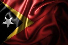 Флаг сатинировки Тимор-Леште Silk Стоковое Изображение RF