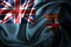 Флаг сатинировки Фиджи Silk Стоковая Фотография RF