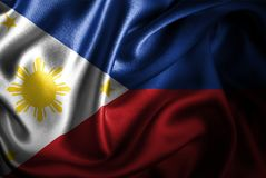 Флаг сатинировки Филиппин Silk Стоковое фото RF
