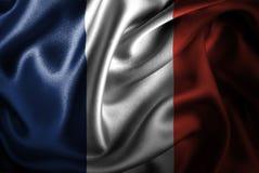 Флаг сатинировки Франции Silk Стоковые Фото