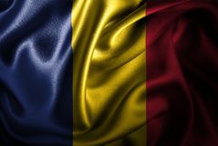 Флаг сатинировки Чада Silk Стоковое фото RF
