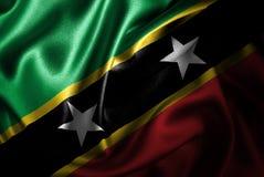 Флаг сатинировки Чент-Китс и Невис Silk Стоковое Изображение