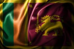 Флаг сатинировки Шри-Ланки Silk Стоковая Фотография RF