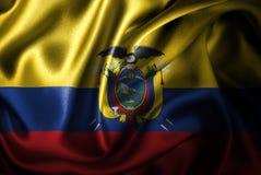 Флаг сатинировки эквадора Silk Стоковая Фотография RF