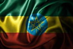 Флаг сатинировки Эфиопии Silk Стоковое фото RF