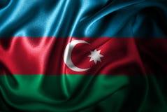 Флаг сатинировки Azerbigan Silk Стоковые Изображения RF