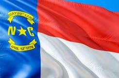 Флаг Северной Каролины E Национальный символ США государства Северной Каролины, перевода 3D национально стоковое фото