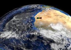 Флаг Сенегала на поляке на иллюстрации глобуса земли иллюстрация штока