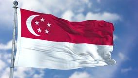 Флаг Сингапура в голубом небе Стоковая Фотография RF