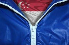 Флаг Сингапура под распакованной молнией Стоковое Фото