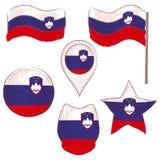 Флаг Словении выполненной в формах Defferent стоковые изображения