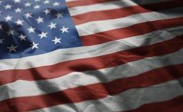 Флаг Соединенных Штатов Америки Rumpled близкая вверх стоковая фотография rf
