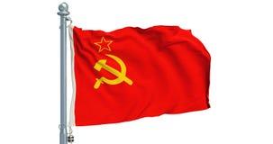 Флаг СССР развевая на белой предпосылке, анимации перевод 3d иллюстрация штока