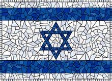 флаг стеклянный Израиль запятнал Стоковое Изображение