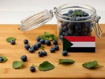 Флаг Судана на деревянной планке при голубики изолированные на белизне Стоковые Фото