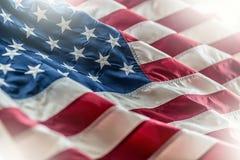 флаг США американский флаг Американский флаг дуя в ветре Стоковая Фотография
