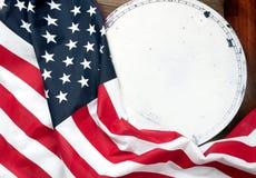 флаг США Американский флаг на деревянной предпосылке Стоковые Фото