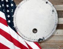флаг США Американский флаг на деревянной предпосылке Стоковые Изображения RF