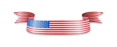 Флаг США в форме ленты волны Стоковое Изображение
