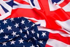 Флаг США и предпосылка флага Великобритании Стоковая Фотография