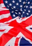 Флаг США и предпосылка флага Великобритании Стоковые Изображения RF