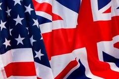 Флаг США и предпосылка флага Великобритании Стоковое Фото