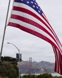 Флаг США & мост золотого строба Стоковые Фотографии RF