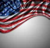 Флаг США на сером цвете Стоковые Фото