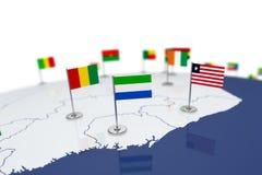 Флаг Сьерра-Леонее Стоковые Изображения
