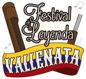 Флаг с Guacharaca и вилка для колумбийского фестиваля сказания Vallenato, иллюстрации вектора иллюстрация штока