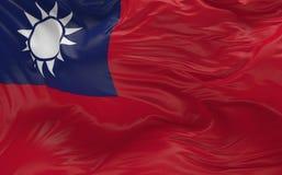 Флаг Тайваня развевая в ветре 3d представляет Стоковые Фотографии RF