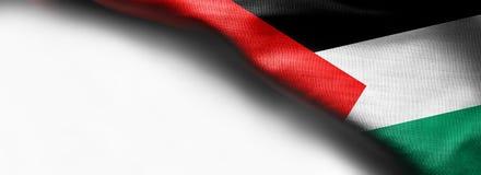 Флаг текстуры ткани Палестины на белой предпосылке Стоковые Фото