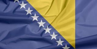 Флаг ткани Босния и Герцеговина Залом предпосылки флага Боснии иллюстрация вектора