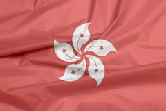 Флаг ткани Гонконга Залом предпосылки флага Гонконга бесплатная иллюстрация